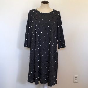 Gilli 3/4 Sleeve Gray Tunic Dress W/ Polka Dots 2X